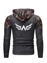 Camouflage Patchwork Long Sleeve Zip Up Hoodies