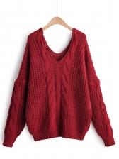 Crochet Loose Pure Color V Neck Sweater