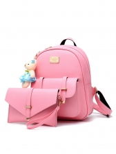 Solid Color Bear Pendant 2 Piece Small Backpack Set