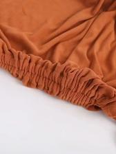 Pure Color Drawstring Long Sleeve Shirts