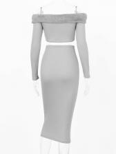 Sexy Plush Patchwork Crop Top And Long Skirt Set