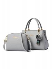 Ol Style Solid Plush Ball Pendant 2 Piece Handbags Set