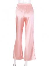 Solid Drawstring Wide Leg Pants
