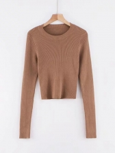 Pure Color Long Sleeve Cropped T Shirt