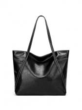 Minimalist Solid Pu Large Capacity Ladies Tote Bags