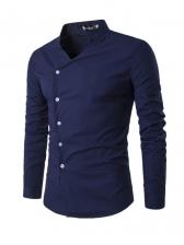 Irregular Button Down Stand Collar Shirt