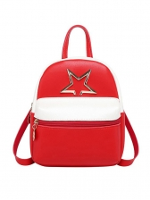 Metal Pentagram Contrast Color Women Mini Backpack