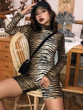 Animal Print High Neck Long Sleeve Romper