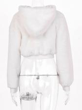Long Sleeve Hooded Short Fleece Jacket