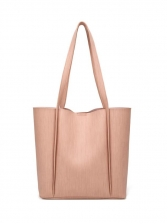 Minimalist Pure Color Large Capacity Leather Tote Bag