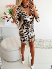 Low-Cut Backless Leopard Long Sleeve Dress