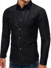 Simple Turn-Down Collar Long Sleeve Shirts