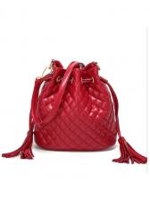 Rhombus Pattern Tassel Drawstring Solid Bucket Bag