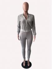 Fleece Patchwork Long Sleeve 2 Piece Pants Set