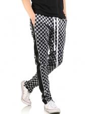 Fashion Drawstring Plaid Mens Pants