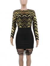 Hollow Out Black Long Sleeve Sequin Dress