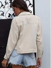 Pure Color Irregular Short Denim Jacket