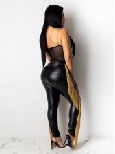 Stylish Side Tassel Leather Pants