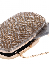 Tiny Diamonds Metal Material Chain Evening Clutch Bags