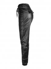 Mid Waist Drawstring Leather Pants