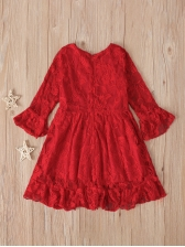 Lace Solid Flare Sleeve Dresses For Teenage Girls