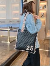 Pu Number Decor Patchwork Tweed Large Shoulder Bag
