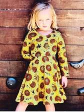 Euro Long Sleeve Sunflower Casual Dress For Kids