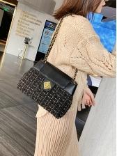 Spin Lock Tweed Patchwork Pu Chain Shoulder Bag