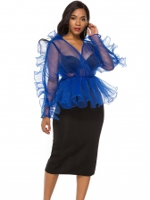 Organza Perspective Ruffled Blouse With Skirt