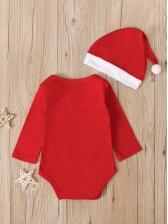 Christmas Long Sleeve Snowman Printed Baby Romper