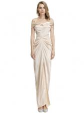 Off Shoulder Draped Champagne Evening Dress