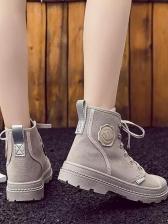 Pure Color Patchwork High Shoe Sale