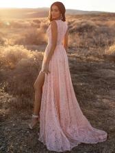 Elegant V Neck Split Hem Pink Lace Evening Dress