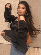 Off Sleeve Strap Ruffled Sleeve Cropped Black Blouse