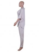 Simple V Neck Short Sleeve 2 Piece Pants Set