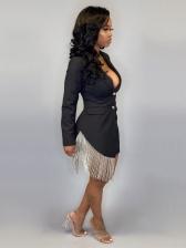 Sexy Deep V Neck Black Long Sleeve Blazer Dress