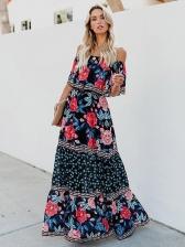 Bohemian Off The Shoulder Printed Casual Maxi Dresses
