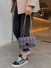 Velvet Rhombus Metal Hasp Golden Chain Shoulder Bag
