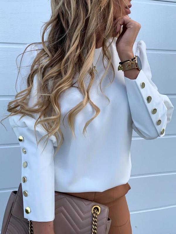 Back Metal Button White Blouse