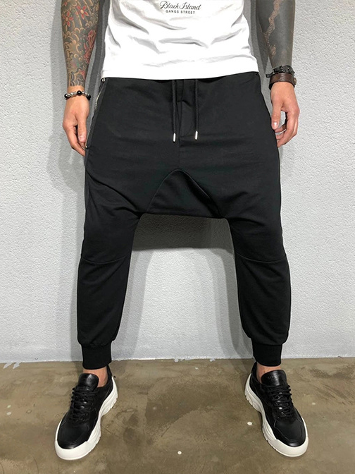 Sporty Drawstring Solid Fitted Jogger Pants