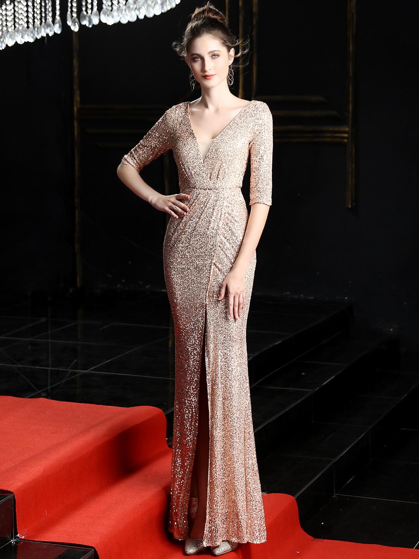 Boutique Gauze Patchwork Long Sequin Evening Dress
