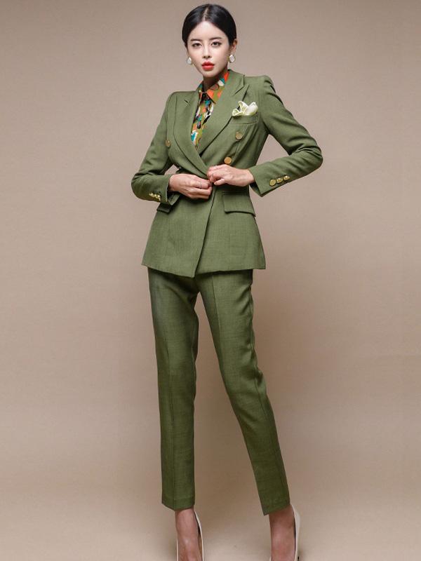 Lapel Collar Button Up Green Women Office Suit
