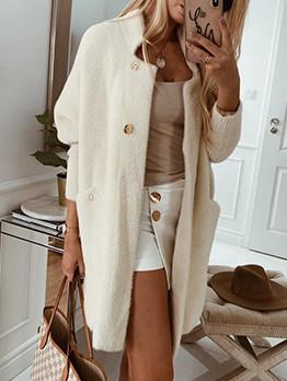 Pure Color Knitting Long Cardigan Coat