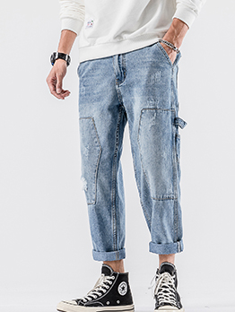 Washed Loose Pockets Leisure Straight Leg Jeans