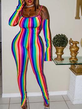 Iridescent Off Shoulder Strap Striped Jumpsuit