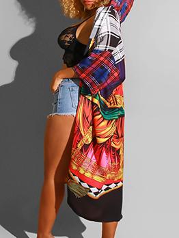 Plaid Printed Long Sleeve Hooded Long Coat