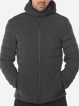 Outdoors Solid Hooded Zip Up Winter Coats