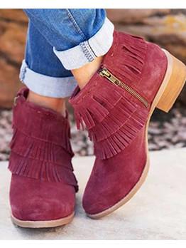Tassel Chunky Heel Ankle Boots