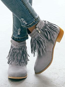 Suede Tassel Round Toe Ladies Boots