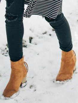 Pure Color Suede Winter Ankle Boots